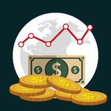 Financial market and investments. Graphic design with icons, vector illustration Stock Images