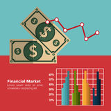 Financial market statistics. Graphic design, vector illustration Royalty Free Stock Photos