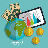 Financial market statistics. Graphic design, vector illustration Royalty Free Stock Photo