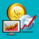Financial market and stock market. Graphic design,  illustration Royalty Free Stock Image