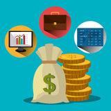 Financial market and stock market. Graphic design,  illustration Stock Photography