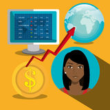 Financial market and stock market. Graphic design,  illustration Royalty Free Stock Photography