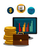 Financial market and stock market. Graphic design,  illustration Stock Images