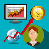 Financial market and stock market. Graphic design,  illustration Royalty Free Stock Photo