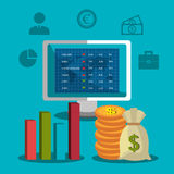 Financial market and stock market. Graphic design,  illustration Stock Photos