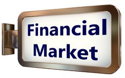 Financial Market on billboard background. Financial Market on wall light box billboard background , isolated on white Royalty Free Stock Image