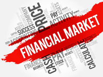Financial market word cloud collage. Business concept background Royalty Free Stock Photo