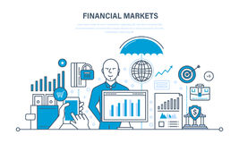 Financial markets, banking, protection of deposits, income, savings, investments. Financial markets: stock, money, capital market, foreign exchange forex Stock Photography