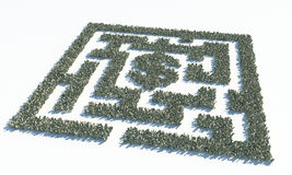 Financial Maze Labyrinth made of usd banknotes Stock Photography