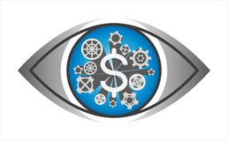 Financial mechanisms cog wheel gear in the eye - illustration isolated on white background. Financial mechanisms gimmick cog wheel gear in the eye Stock Image