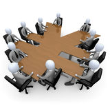 Financial Meeting. 3d people having a meeting around a yen-shaped table Royalty Free Stock Photos