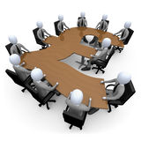 Financial Meeting. 3d people having a meeting around a pound-shaped table Royalty Free Stock Photo
