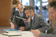 Financial meeting of business partners Stock Images
