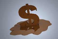 Financial Meltdown. Money and financial meltdown, bringing about fiscal depreciation Stock Images