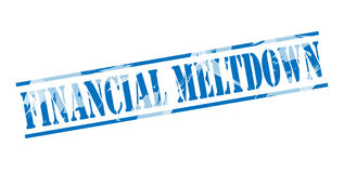 Financial meltdown blue stamp. On white background Royalty Free Stock Images