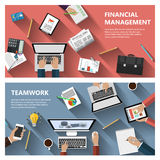 Financial menagement and teamwork concept. Modern flat design financial menagement and teamwork concept  for e-business, web sites, mobile applications, banners Royalty Free Stock Image