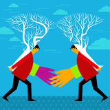 Financial merger concept with two trees connecting.  Stock Photo