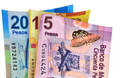 Financial 2015 Mexico. Mexican Peso Bills forming the year 2015 Stock Image
