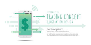 Financial on mobile phone banner vector. Illustration vector financial on mobile phone banner Royalty Free Stock Image