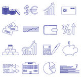 Financial and money blue outline icons set Stock Photo
