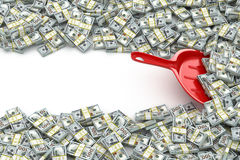 Financial money concept. Scoop and packs of dollars. Space for t. Ext. 3d Stock Photography