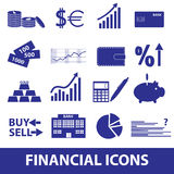 Financial and money icons eps10. Blue financial and money icons eps10 Royalty Free Stock Photo