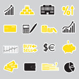 Financial and money stickers eps10. Black and yellow financial and money stickers eps10 Royalty Free Stock Photos