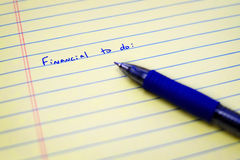 Financial Money To Do List Plan Royalty Free Stock Photography