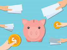 Financial moneybox. The image is suitable for illustrating an article about financial assistance to the project, investing and saving vector illustration