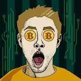 Financial monitoring of crypto currency bitcoin businessman binoculars pop art retro style. Surprised man with open mouth. Colorful vector background in pop royalty free illustration