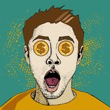 Financial monitoring of currency dollar businessman. Young surprised man with open mouth. Wow pop art face. Financial monitoring of currency dollar businessman royalty free illustration