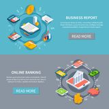 Financial Motion Banners Set. Set of two accounting isometric horizontal banners with read more button editable text and conceptual images vector illustration Royalty Free Stock Photography