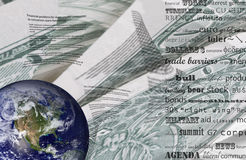 Financial news. Confusion with a planet news headlines Stock Image