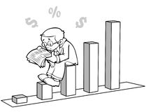 Financial news. A young businessman sitting on a graph and reading the papers vector illustration