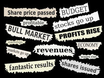 Financial news. Newspaper cuttings and headlines. Good financial news with positive reactions to markets Royalty Free Stock Photography