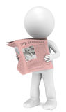 Financial News. 3D little human character Reading a Financial News Paper Royalty Free Stock Images