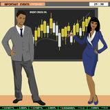 Financial news anchor man and woman. Header TV, vector illustration Royalty Free Stock Images