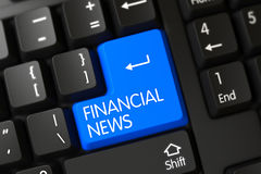 Financial News CloseUp of Blue Keyboard Key. 3D. PC Keyboard with the words Financial News on Blue Button. 3D Stock Photo