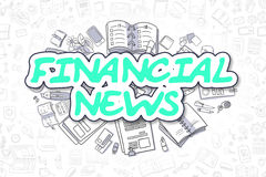 Financial News - Doodle Green Word. Business Concept. Stock Photography