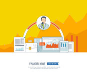 Financial news and strategy, planning strategy concept.  Press conference. Royalty Free Stock Photo