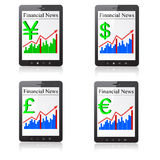 Financial News on Tablet PC. Isolated on white. Royalty Free Stock Images