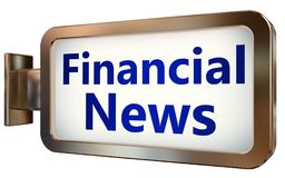 Financial News on billboard background. Financial News wall light box billboard background , isolated on white Stock Photo