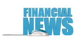 Financial news word isolated. Blue computer mouse with financial news word isolated, 3D rendering Stock Photo