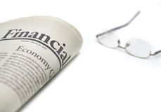 Financial newspaper with copyspace Stock Image