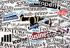 Financial newspaper cuttings. Stock Photo