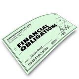 Financial Obligations Check Money Payments Bills Due. Financial Obligations words on a check as payment to creditors for bills due Royalty Free Stock Photo