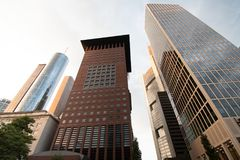 Financial office buildings in Frankfurt royalty free stock photo