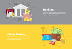 Financial Online Banking Business Web Banner. Flat Vector Illustration Royalty Free Stock Image