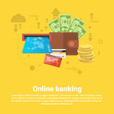 Financial Online Banking Business Web Banner. Flat Vector Illustration Stock Photography