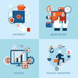 Financial online banking and payment control. Vector icons of financial analytics, online banking and payment control concepts Stock Photography